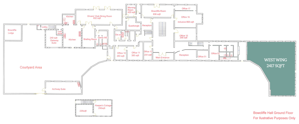 The West Wing Floor Plan - Fully Serviced Office Space at Bowcliffe Hall