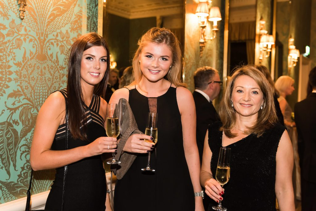 From left, ?Sophie Bennett, Amy Keast, Karen Vardy from UBS The Prince's Trust and Lexus Leeds 40th Anniversary Fashion Dinner - Picture date Thursday 17 November, 2016 (Bowcliffe Hall, Bramham, West Yorkshire) Photo credit should read: Jonathan Pow/jp@jonathanpow.com REF : POW_161117_200331