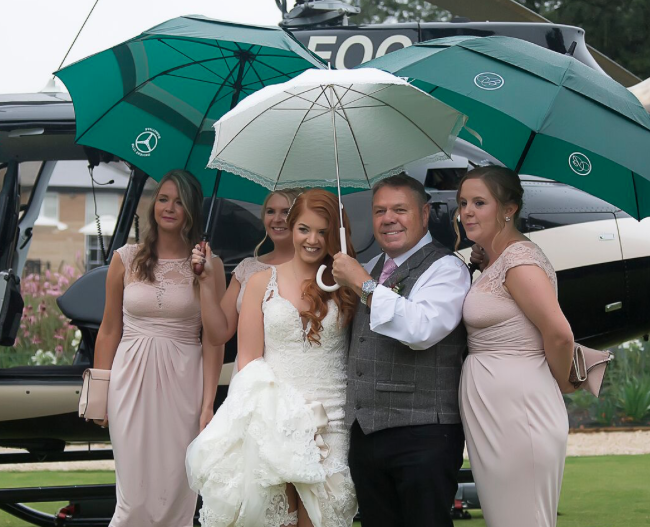Helicopter wedding bowcliffe hall